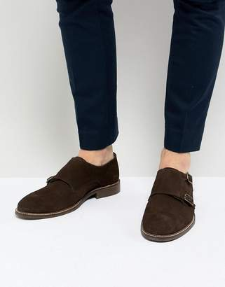 Dune Monk Shoes In Brown Suede
