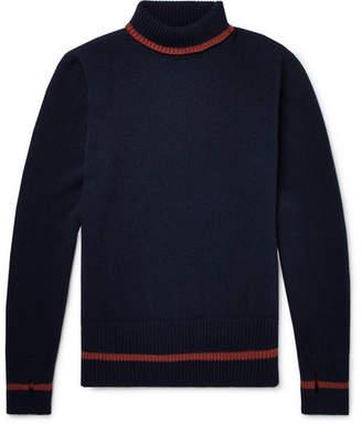 Oliver Spencer Talbot Contrast-Trimmed Wool Rollneck Sweater
