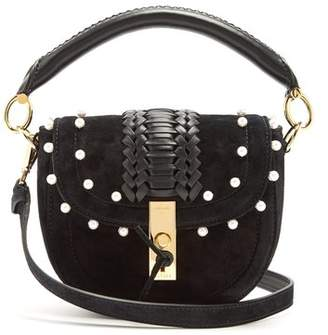 Altuzarra Ghianda Mini Braided Leather Suede Shoulder Bag - Womens - Black White