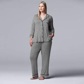 Vera Wang Plus Size Simply Vera Notch Collar Shirt & Pants Pajama Set