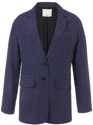 Tibi Gingham Oversized Blazer in Navy Multi