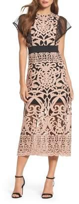 Foxiedox Rosabel Embroidered Midi Sheath Dress