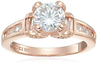 14k Gold Plated Sterling Silver Cubic Zirconia Solitaire with Channel Set Accent Stones Ring