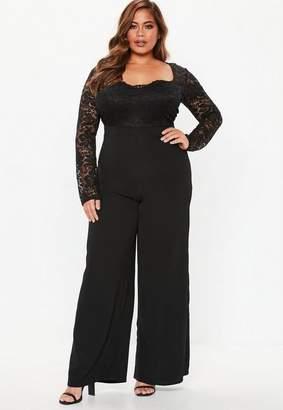 e3644664b459 Missguided Plus Size Black Lace Wide Leg Jumpsuit