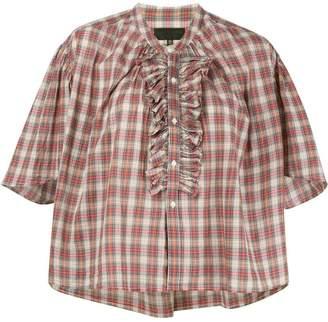 Nili Lotan Rita ruffled plaid blouse