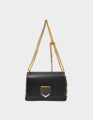 0a66cfe6fadd5 Jimmy Choo Lockett Petite Bag in Black and Gold Smooth Calfskin