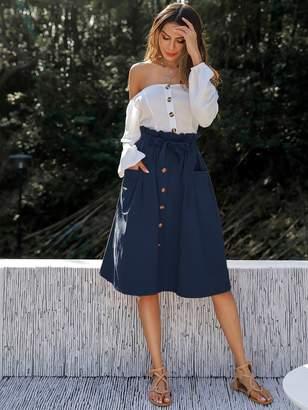 Shein Button Front Paperbag Waist Belted Skirt