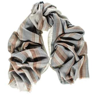 Black Oxford Stripe Merino Wool and Silk Scarf