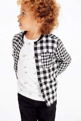 Next Boys Monochrome Long Sleeve Check Shirt And T-Shirt Set (3mths-7yrs) - Black
