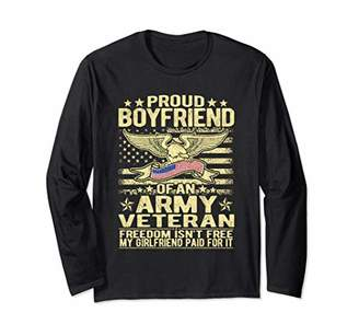Proud Boyfriend Of Army Veteran US Flag Military Lover Gifts Long Sleeve T-Shirt