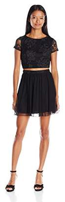 Speechless Juniors Two Piece Lace Crop Top To Mesh Party Skirt
