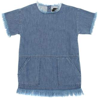 Finger In The Nose Denim Dress W/ Fringe Hem