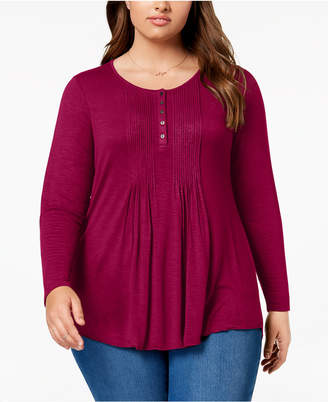 Style&Co. Style & Co Plus Size Pintuck Top, Created for Macy's