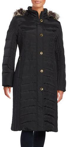 Anne KleinAnne Klein Faux Fur-Trimmed Hooded Puffer Coat