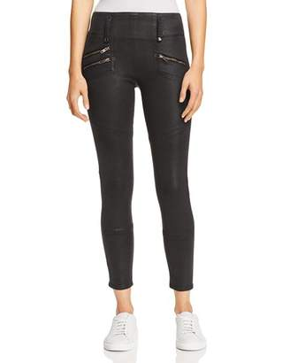 Hudson High Rise Moto Zip Skinny Jeans in Black Wax