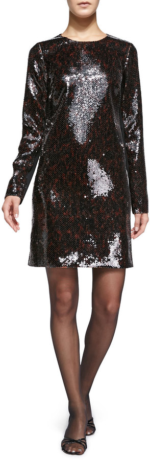 Marc Jacobs Marc Jacobs Long-Sleeve Sequined Shift Dress