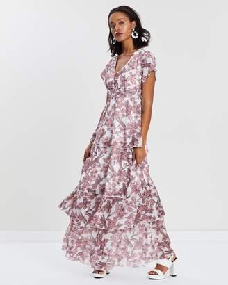 Missguided Floral Chiffon Frill Layered Dress