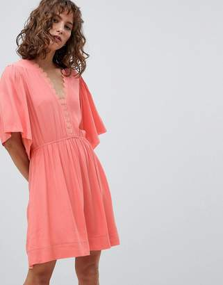 Suncoo Skater Dress with Flutter Sleeve