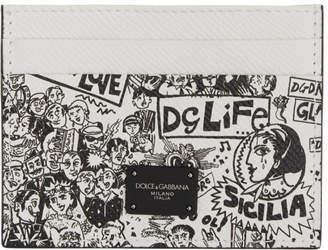 Dolce & Gabbana Black and White Graffiti Card Holder