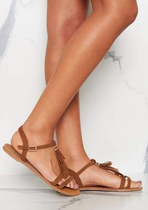45c2768004c Missy Empire Missyempire Fearne Tan Suede Tassel Detail Strappy Sandals
