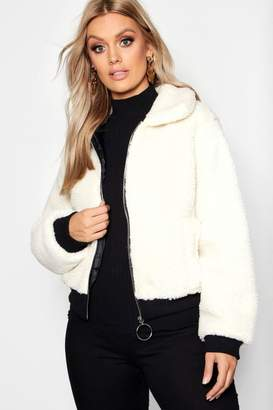 boohoo Plus Faux Fur Teddy Bomber Coat