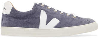 Veja V-10 Bastille Leather-trimmed Velvet Sneakers - Blue