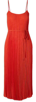 Vince Crinkled Plissé-crepe Midi Dress - Papaya