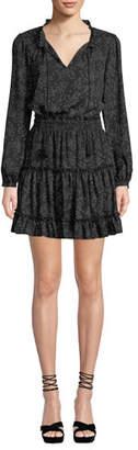 Rebecca Minkoff Rosemary Star-Print Long-Sleeve Short Dress
