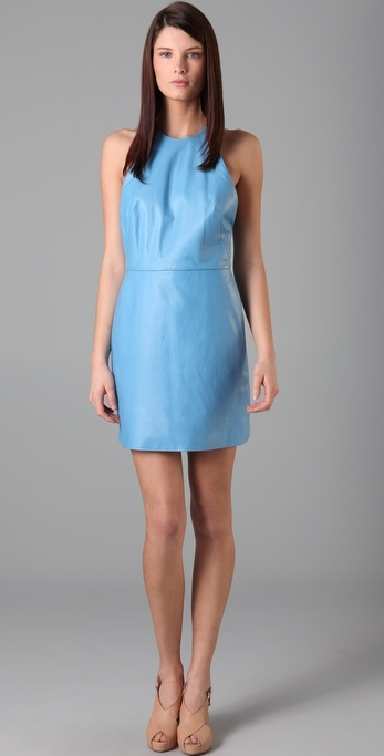 3.1 Phillip Lim Leather Halter Dress with Chiffon Back