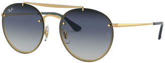 Ray-Ban Round Lens-Over-Frame Metal Sunglasses