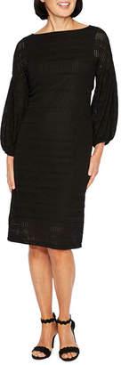 Liz Claiborne 3/4 Sleeve Crochet Stripe Sheath Dress