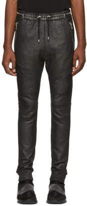 Balmain Black and Silver Calecon Biker Lounge Pants