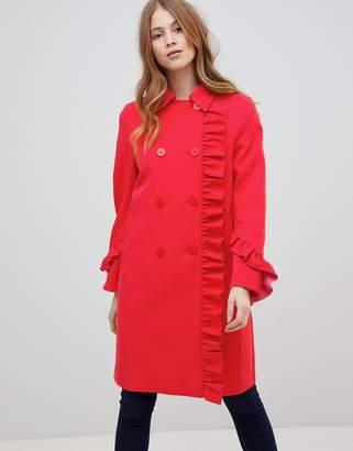 Asos Design DESIGN Frill Bonded Coat