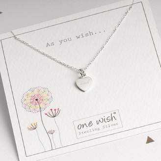 Grace & Valour Sterling Silver Heart Necklace Engraved With Wish