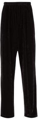 Balenciaga - Oversized Velour Track Pants - Mens - Black