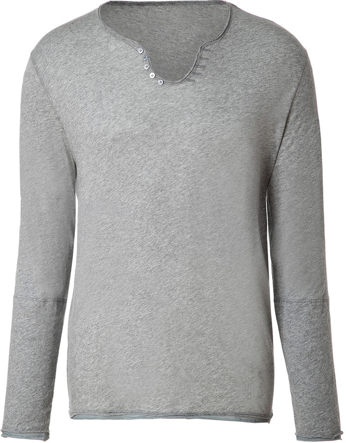 Zadig & Voltaire Heather Grey Long Sleeve Cotton T-Shirt