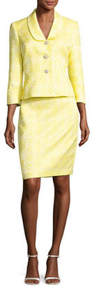 Albert Nipon Floral Jacquard Jacket w/ Pencil Skirt, Yellow/White