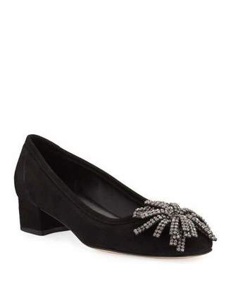 Sesto Meucci Hope Ornamented Suede Block-Heel Pumps, Black