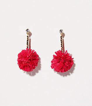 LOFT Pom Pom Drop Earrings