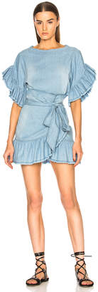 Etoile Isabel Marant Lelicia Chambray Ruffle Wrap Dress
