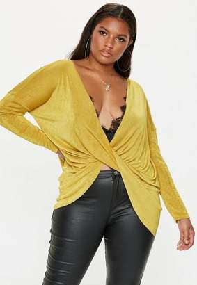 Missguided Plus Size Yellow Drape Front Slinky Top