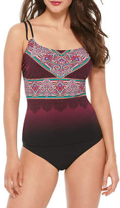 Christina D-Cup Printed Double Strap Tankini Top