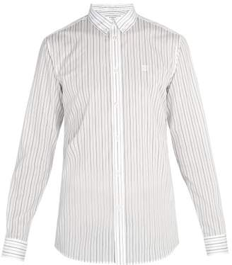 Givenchy Monogram Embroidered Pinstriped Cotton Blend Shirt - Mens - Black White