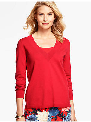 Talbots Woven-Back V-Neck Sweater