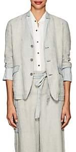 Pas De Calais Women's Micro-Checked Linen Three-Button Blazer-Blue