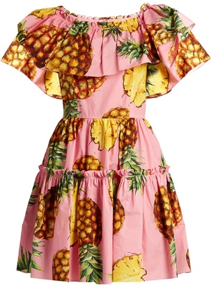 DOLCE & GABBANA Pineapple-print ruffled-panel cotton dress $1,795 thestylecure.com