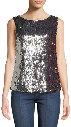 Tanya Taylor Gabby Two-Tone Sequin Tank