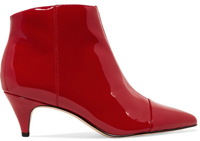 Sam Edelman - Kinzey Patent-leather Ankle Boots - Red