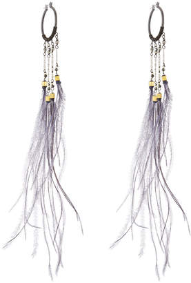 Nakamol Long Feather Dangle Hoop Earrings