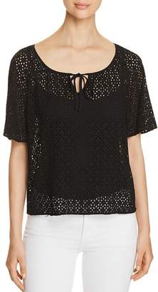 Three Dots Sheer Eyelet Keyhole Top